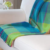 Jodie Byrne Check Wool Throw In Turquoise And Lime Green