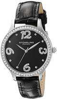 Stuhrling Original Women's Quartz Watch with Black Dial Analogue Display and Black Leather Strap 560.02