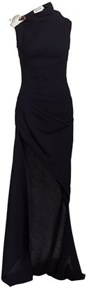 Monse Sleeveless Wrapped Wool High-Low Gown