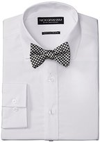 Nick Graham Men's Solid Cotton Poplin Dress Shirt with Gingham Bow Tie