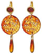 Kenneth Jay Lane Small Gold Tortoise Top/Craved Tortoise/Tortoise Drop Wire Earrings Earring