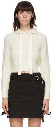 Helmut Lang White Wool Strap Hoodie