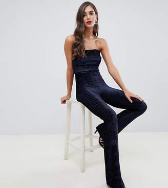 Flounce London Tall velvet bandeau jumpsuit in cobalt stripe-Black