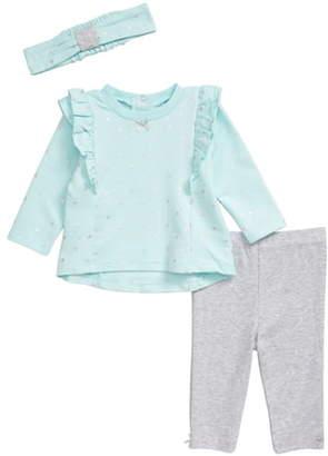 Little Me Metallic Dot Shirt, Leggings & Headband Set