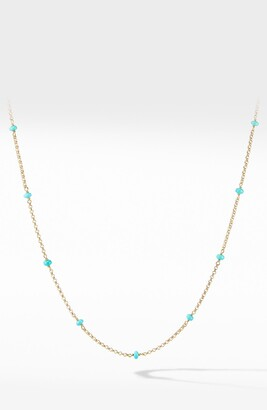 David Yurman Cable Collectibles Bead & Chain Necklace in 18K Yellow Gold with Turquoise