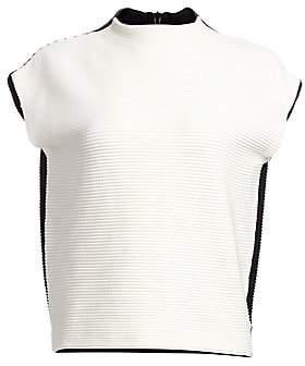 Akris Punto Women's Ribbed Bi-Color Pullover Top