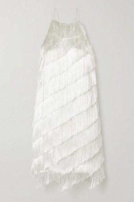 Halston Fringed Crepe Dress - Ivory