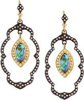 Armenta Old World Lotus Blue Topaz Doublet Dangle Earrings w/ Diamonds
