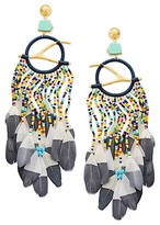 Tory Burch Beaded Feather Statement Earring