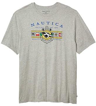 Nautica Big Tall Flag Graphic Tee (Black) Men's Clothing