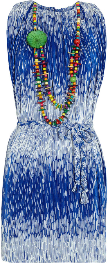 T-Bags Printed pleated jersey dress
