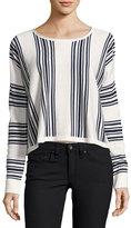 Splendid Bayside Stripe High-Low Pullover, Academy Navy/Natural
