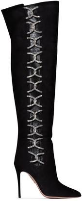 Aquazzura Belle De Nuit 105mm crystal-embellished boots
