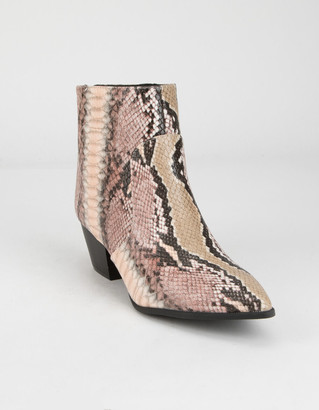 Qupid Point Toe Womens Snake Booties