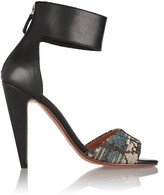 M Missoni Leather and metallic crochet-knit sandals
