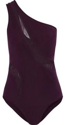 Jets One-shoulder Mesh-paneled Swimsuit