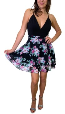Emerald Sundae Juniors' Lace-Back Floral-Print A-Line Dress