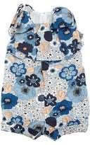 Chloé Allover Flower-Print Playsuit w/ Bow Shoulders, Size 2-3