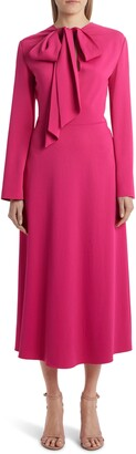 Valentino Bow Neck Long Sleeve Matte Cady Midi Dress