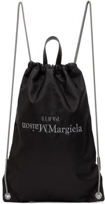 Maison Margiela Black Embroidered Logo Drawstring Backpack