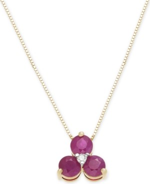 "Macy's Ruby (1 ct. t.w.) & Diamond Accent 18"" Pendant Necklace in 14k Gold"