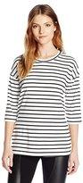 BCBGeneration Women's 3/4 Sleeve Boxy Stripe Top