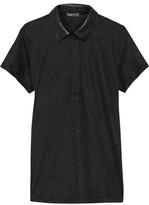 Vince Leather-Trimmed Linen Top