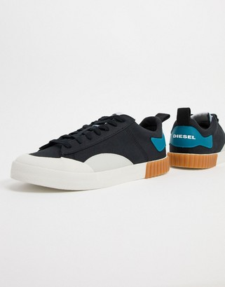 Diesel S-Bully low top canvas trainers with gum sole detail in black