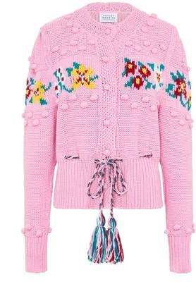 Hayley Menzies Pink Gladys Cardigan - L | cotton | pink | Pompon - Pink/Pink