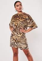 Missguided Stone Velvet Zebra Print Oversized T Shirt Dress