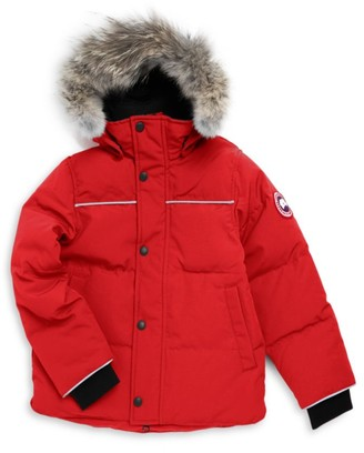 Canada Goose Little Kid's & Kid's Snowy Owl Coyote Fur-Trim Down Parka