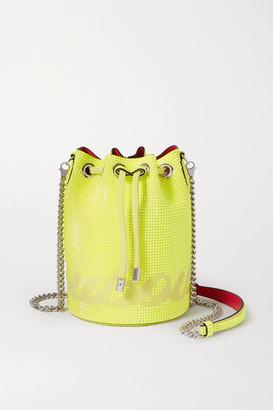 Christian Louboutin Marie Jane Neon Crystal-embellished Suede Bucket Bag - Yellow