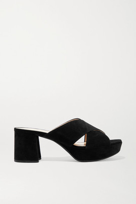Prada 65 Suede Platform Mules - Black