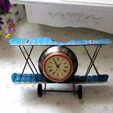 Airplane Table Clock CR Retro Vintage Plane Airplane Model Clock with Lindbergh Aviation Aircraft Clocks Home Decoration Toy gift for children kids (A-Blue)