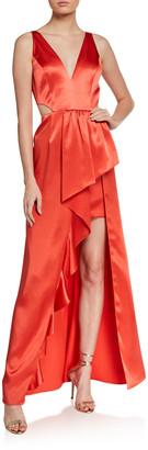 Aidan Mattox Sleeveless Cutout High-Low Satin Flounce Gown