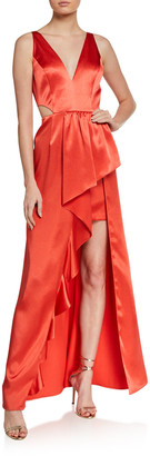 Aidan Mattox Sleeveless Cutout High-Low Satin Flounce Gown