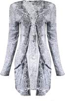 Fashion Box Womens Open Style Two Pocket Printed Boyfriend Cardigan