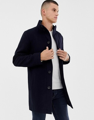 French Connection Wool Blend Funnel Neck Coat-Navy