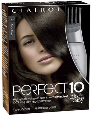 Clairol Nice 'n Easy Perfect 10 Permanent Haircolor Dark Brown 004