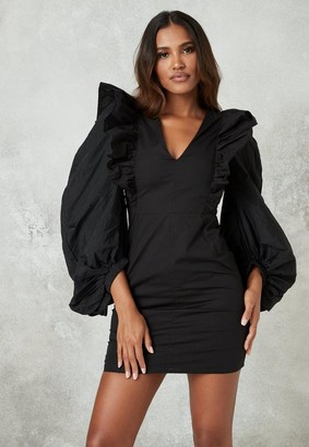 Missguided Black Ruffle Puff Sleeve Mini Dress