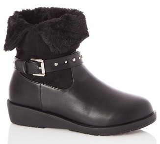 Dorothy Perkins Womens Quiz Black Fur Lined Studded Ankle Boots, Black