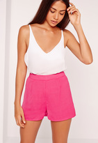 Missguided Cheescloth High Waisted Shorts Pink