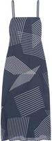 DKNY Embroidered Printed Crepe De Chine Midi Dress - Midnight blue
