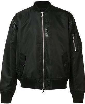 Mostly Heard Rarely Seen Leather Detailing Bomber Jacket