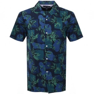 Tommy Hilfiger Short Sleeved Palm Tree Shirt Navy