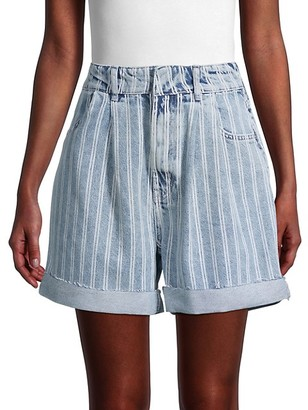 Free People Downtown High-Rise Striped Denim Cut-Off Shorts