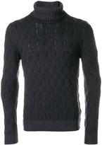 Tagliatore textured cable knit turtleneck sweater