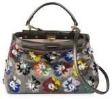 Fendi Peekaboo Mini Embellished Beaded & Leather Satchel