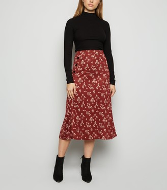 New Look JDY Floral Button Side Midi Skirt