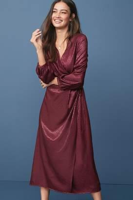 Next Womens Berry Long Sleeve Jacquard Wrap Dress - Purple